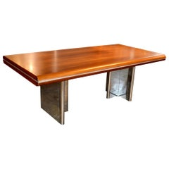 Hans Von Klier Walnut and Chrome Desk
