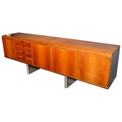 Hans Von Klier Walnut and Chrome Credenza