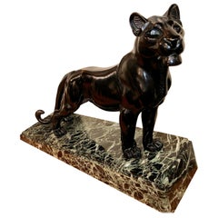 L. Carvin Black Panther Art Deco Bronze Sculpture