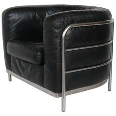 """Onda"" Black Leather and Steel Armchair by De Pas, D'urbino Lomazzi for Zanotta"