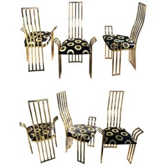Set of Six Vintage Italian Brass Dining Chairs in the Style of Pierre Cardin