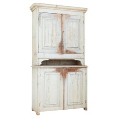 19th Century Rustic Swedish Painted Pine Cupboard