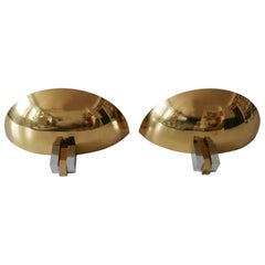 Set of Two Midcentury Brass Wall Lamps or Sconces by Art-Line, 1980s, Germany