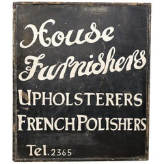 Mid-20th Century Hand Painted 'Furnisher's' Trade Sign White Black