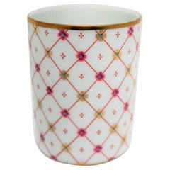 Designer Italian White & Gold Porcelain Bathroom Vanity Cup by Richard Ginori