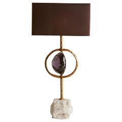 1970s, Italy Giovanni Banci Table Lamps with Amethyst and Gold Gilded Base