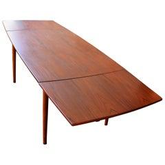 Danish Modern Teak Surfboard Shaped Draw-Leaf Dining Table by GP Farum, 1960s