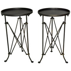 Classic Campaign Style Gueridon Side Table, Sold Singly