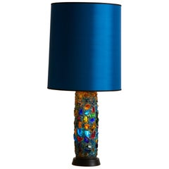 1970s, France Jean Simon Labret Resin and Glass Table Lamp