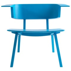 Arco Blue Wood Sculptural Fly Armchair