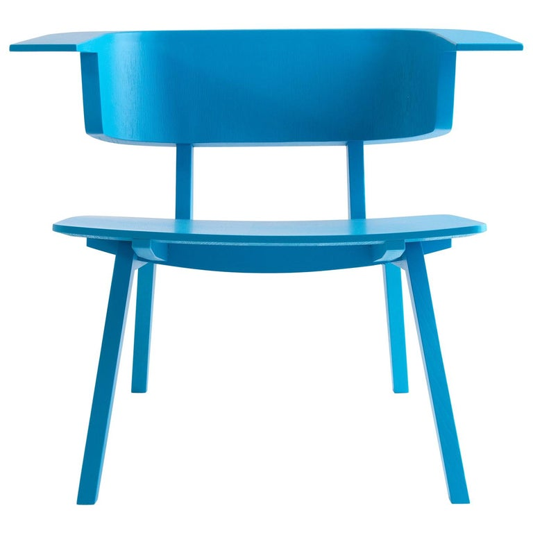 Arco Blue Wood Sculptural Fly Armchair For Sale