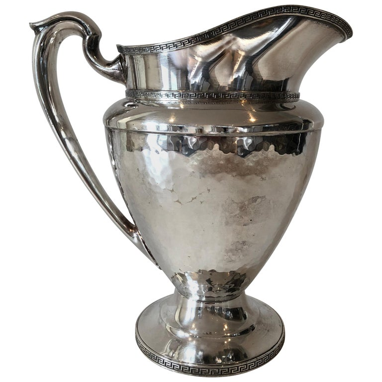 Greek Key Silver Plated Pitcher For Sale