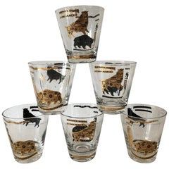Set of Six Stock Market Themed Low Ball Glasses
