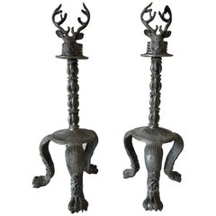 Pair of Pewter Stag Candlesticks
