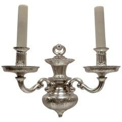 Pair Georgian Style Sliver Plated Bronze Sconces, Attributed to E. F. Caldwell