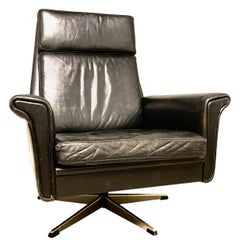 Georg Thams Danish High Back Swivel Lounge Chair in Black Leather