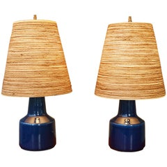 Pair of Lotte Bostlund Cobalt Blue Bedside Lamps with Original Fiberglass Shades