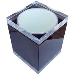 Aldo Tura for Ice Bucket in Mahogany and Lucite Covered in Goatskin, Italy 1970s