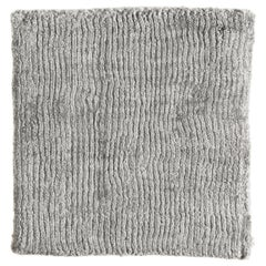 Solid Silver Gray Bamboo Silk Rug with Textural Vertical Lines and no Pattern