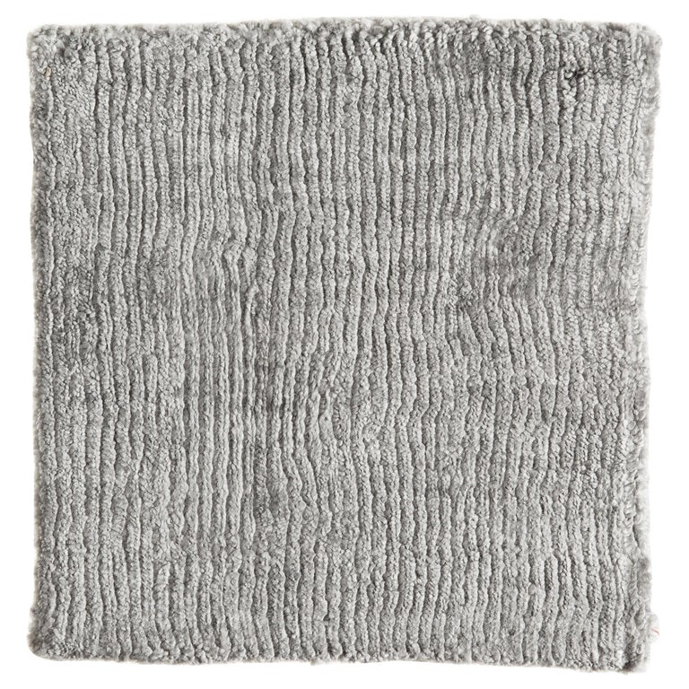 Solid Silver Gray Bamboo Silk Rug with Textural Vertical Lines and no Pattern For Sale