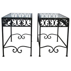 Black Metal and Glass Outdoor Patio End Tables, Pair