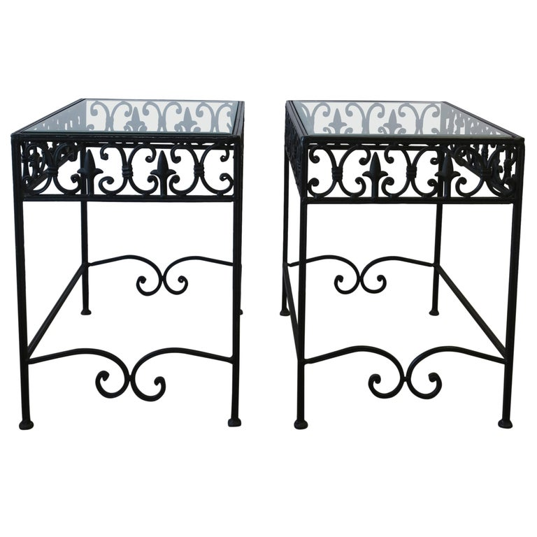 Glass Outdoor Patio End Tables Pair, Metal Patio End Tables