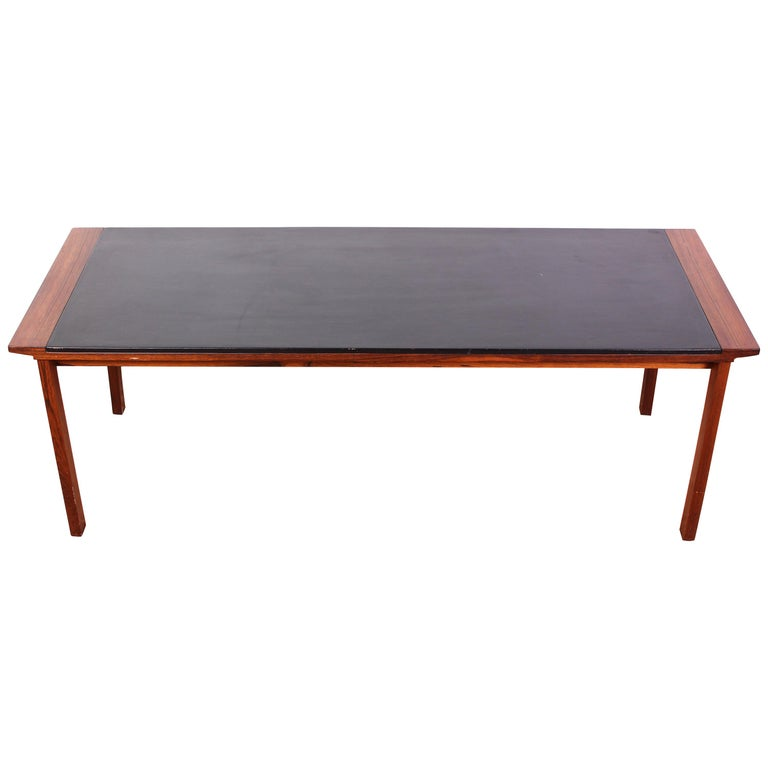 Midcentury Danish Rosewood Coffee Table with Leather Top For Sale
