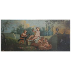 Italian Putti Oil Painting, circa 1940