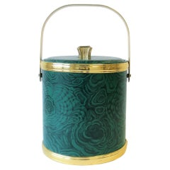 Green Malachite Style Ice Bucket by Georges Briard, circa 1970s