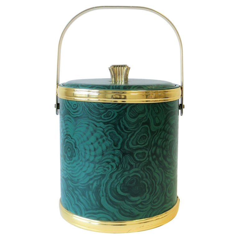 Green Malachite Style Ice Bucket by Georges Briard, circa 1970s For Sale