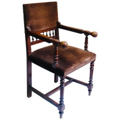 Antique 19th Century Napoleon III Solid Wood Throne Chair