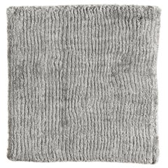 Silver Light Gray Hi Low Cut Horizontal Stripe Bamboo Silk Hand Woven Rug