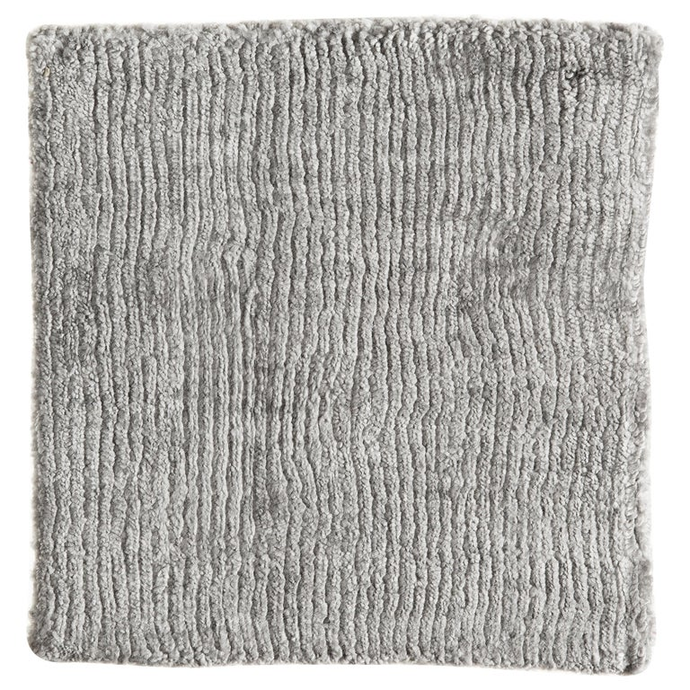 Solid Silver Gray Rug, Hand-Loomed, Hi Low, Stripe Bamboo Silk, Berlin For Sale