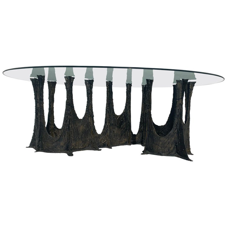 Paul Evans Brutalist Bronze Stalagmite Dining Table For Sale