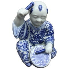 1970s, Chinoiserie Blue and White Porcelain Sculpture Baby Buddha with Drum