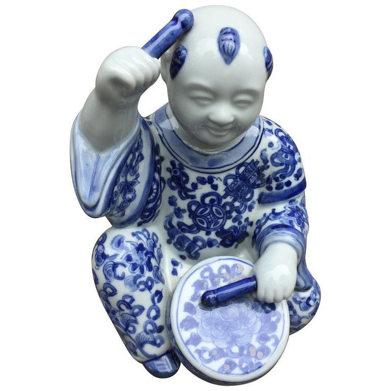 1970s, Chinoiserie Blue and White Porcelain Sculpture Baby Buddha with Drum For Sale