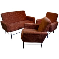 Midcentury Rationalist Living Room Lounge Armchair Set with Metal Legs, 1960s