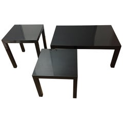 Mid-century Modern  Black Lacquer Tables / Set of Three