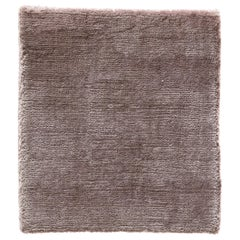 Modern Blush Rose Color Made in Bamboo Silk Rug Hand-Loomed with a Soft Feel