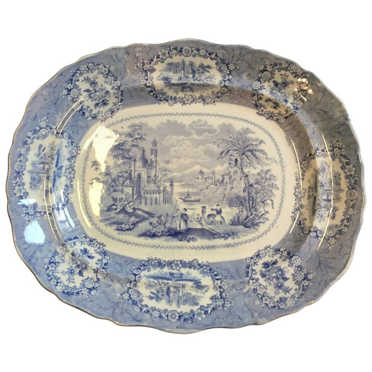 Vintage English Blue and White Platter For Sale