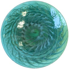 Large Italian Murano Emerald Green Centerpiece Art Glass Bowl