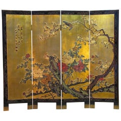 Small Chinese Coromandel & Lacquer Four Fold Screen Late 19th-Early 20th Century