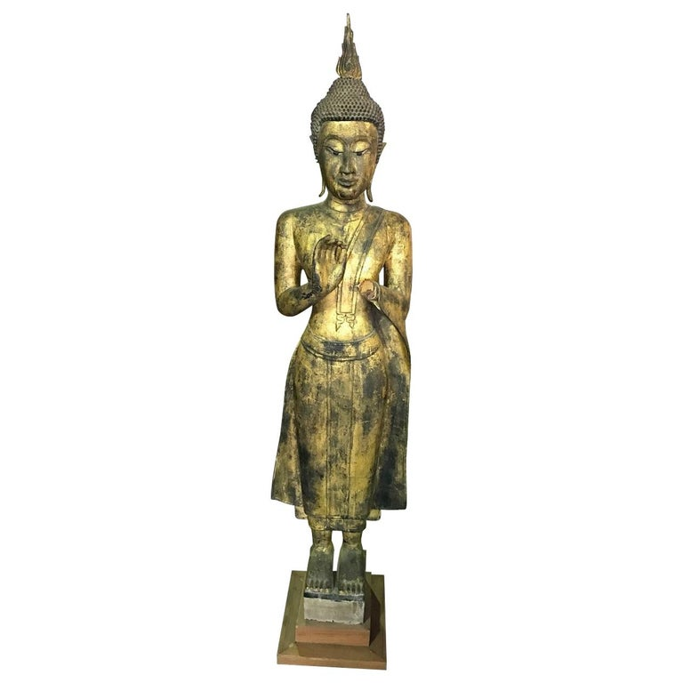 Tall Carved Wood and Gilt Standing Temple Shrine Buddha For Sale