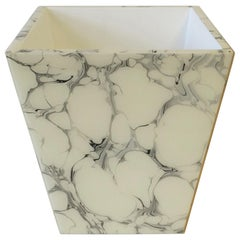 Black and White Marble Style Wastebasket or Trash Can Set