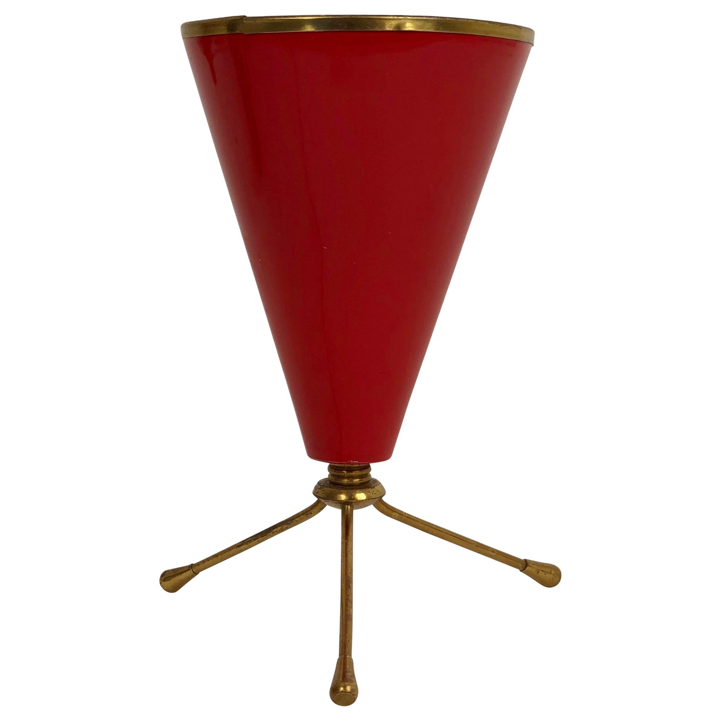 Cone Tripod Table Red Lamp in Brass and Lacquered Metal, Stilnovo, Italy, 1950s