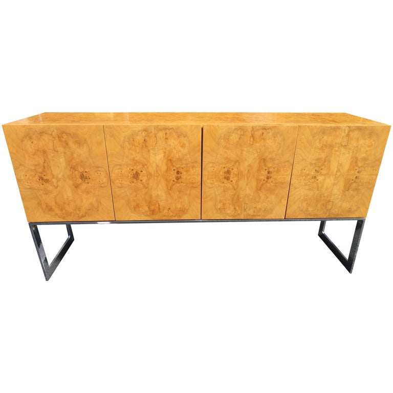 Magnificent Milo Baughman Burled Olive Wood Chrome Credenza Mid-Century Modern For Sale