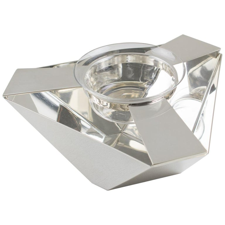 Ken Benson for St James Brazil Silver Plate Caviar Serving Bowl Barware For Sale