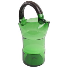 Italian Mouth-Blown Glass Barware Pitcher Handstitched Leather Handle
