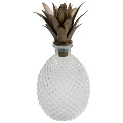 1980s Molded Glass Pineapple Barware Bottle or Decanter