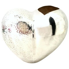 21st Century Organic Modern Silver Plate Abstract Heart from Sculptural Vase